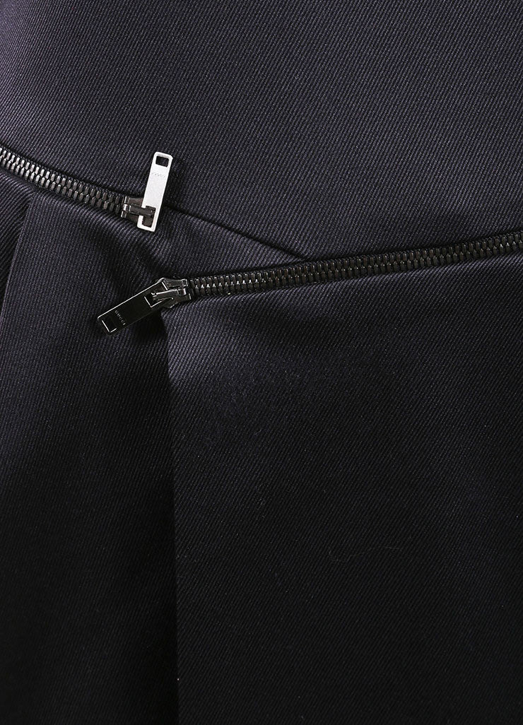 Gucci Black Silk Sleeveless Zipper Detail Shift Dress Detail
