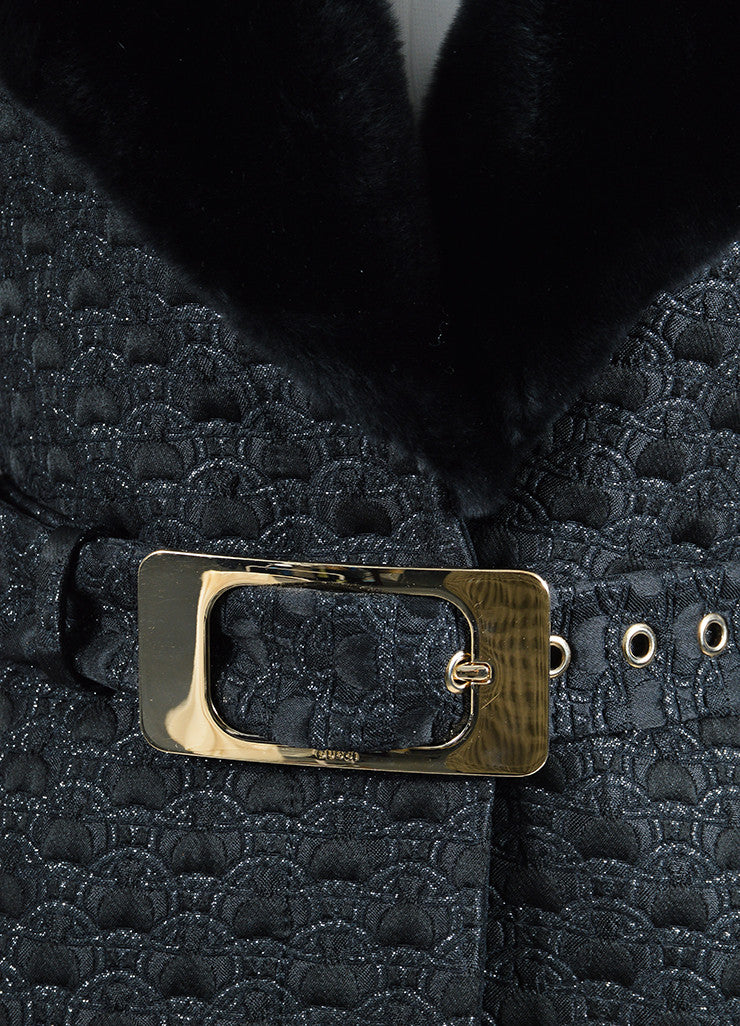 Black Gucci Wool and Silk Jacquard Fur Collar Belted Long Coat Detail