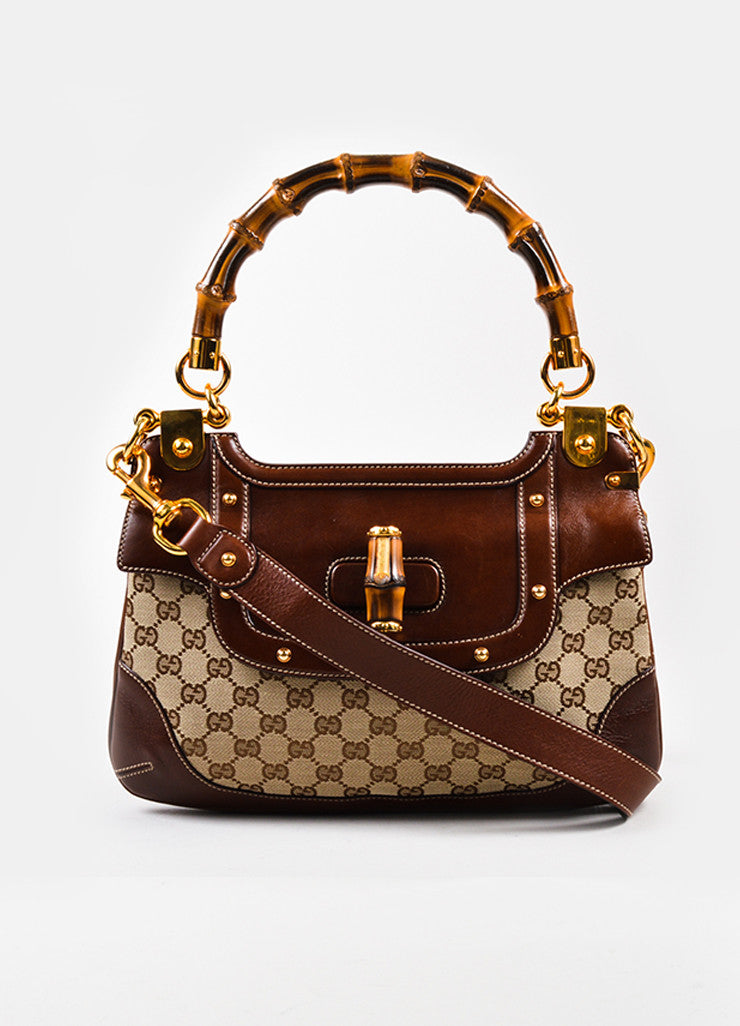 Gucci Brown Canvas Leather Bamboo Monogram Print Shoulder Bag Frontview