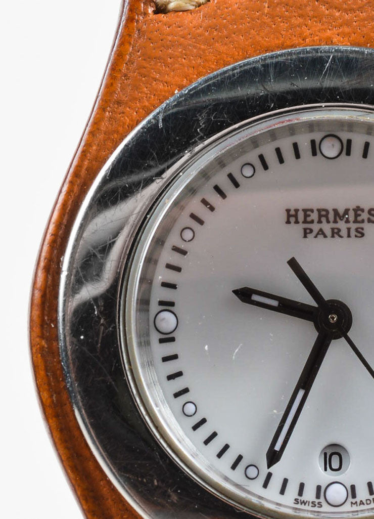 "Hermes Cognac Brown Leather Stainless Steel ""Harnais"" Watch Detail"
