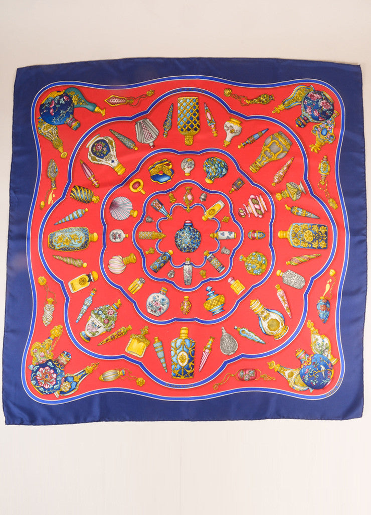 "Hermes Navy, Red, and Multicolor Perfume Bottle Print ""Qu'impore Le Flacon"" Silk Scarf Frontview 2"
