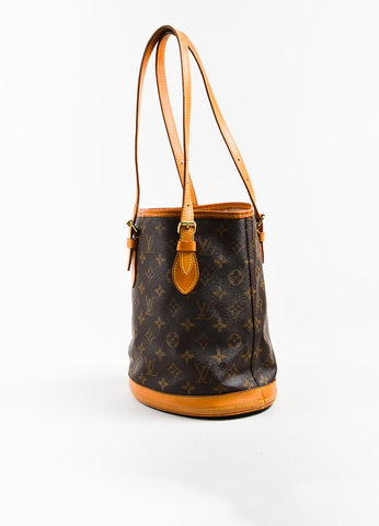 "Brown Louis Vuitton Coated Canvas 'LV' Monogram ""Petit Bucket"" Handbag Back"