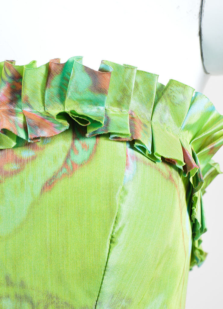 Green, Orange, and Blue Oscar de la Renta Floral Print Strapless Ruffled Gown Detail