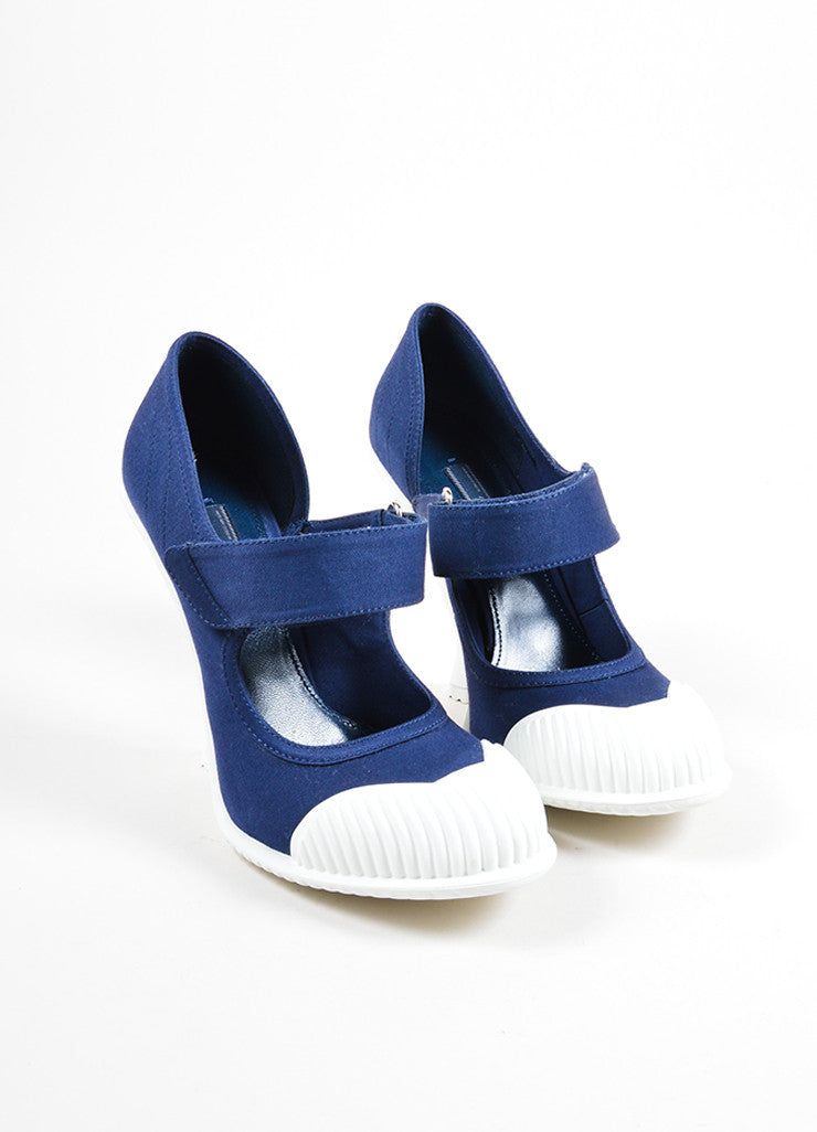 "Prada Blue and White ""Baltico"" Canvas ""Gabardine"" Mary Jane Pumps Frontview"