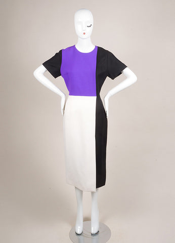 Roksanda Ilincic New With Tags Purple, Cream, and Black Wool Blend Color Block Dress Frontview