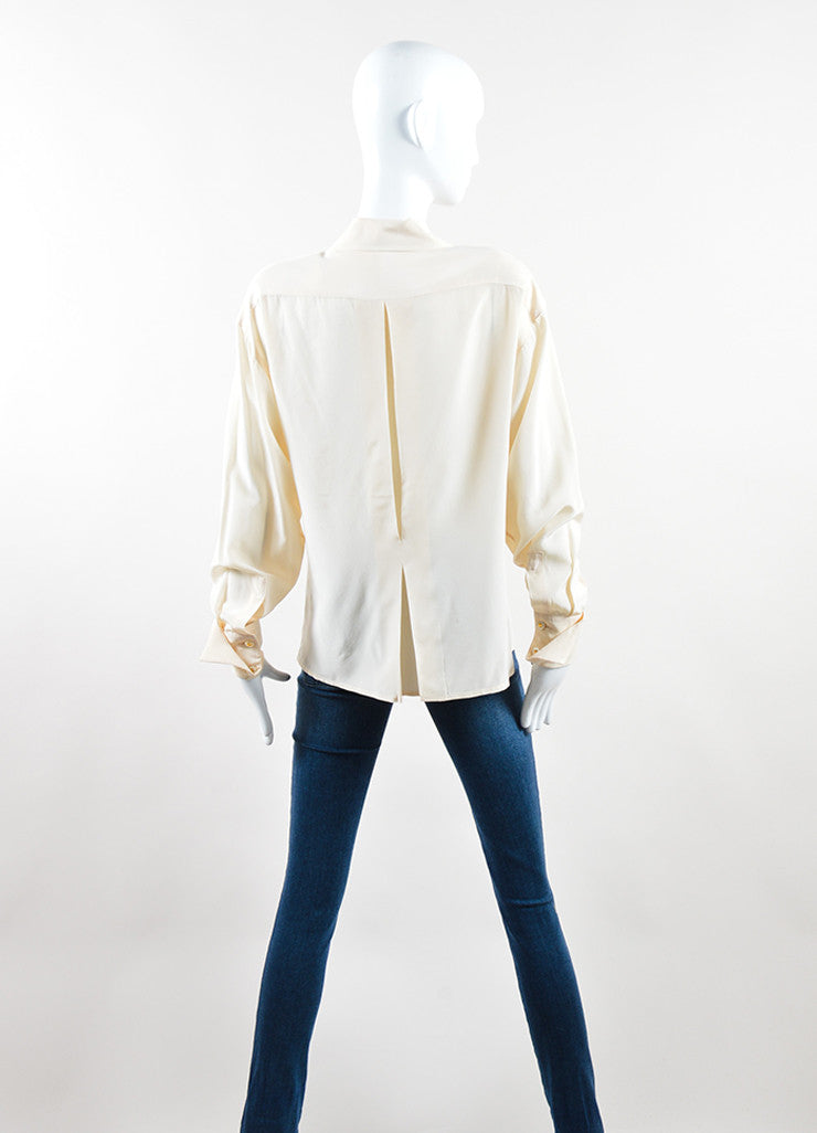 Chanel Cream and Peach Silk Pleated Clover Button Down Blouse Backview
