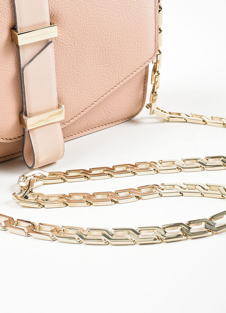 Pink Nude Victoria Beckham Leather Mini Chain Strap Satchel Bag Detail 2