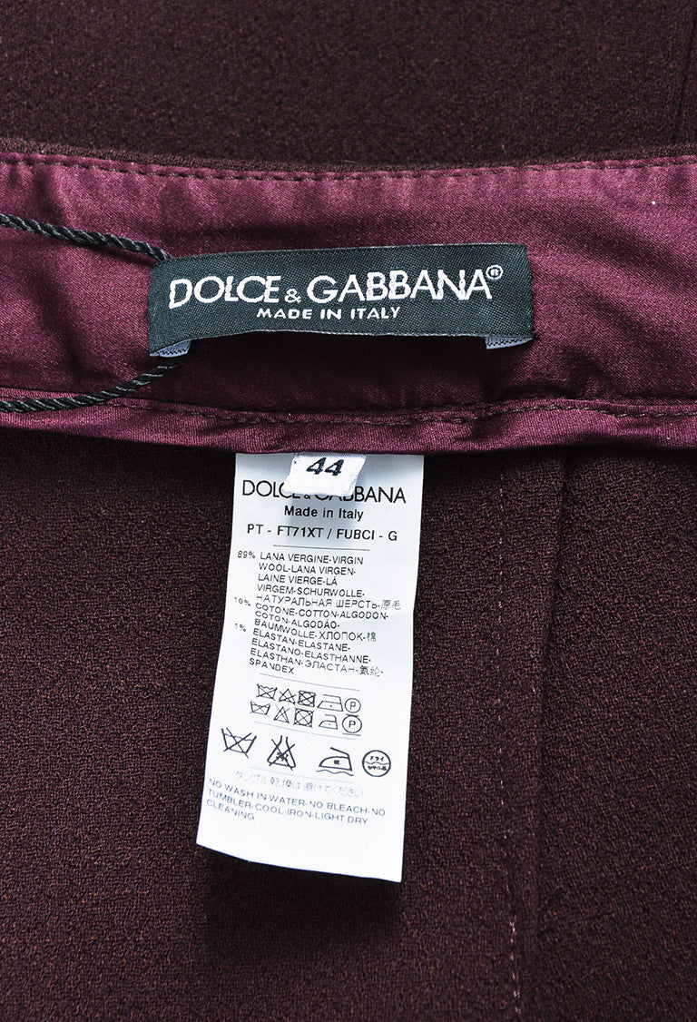 Dolce & Gabbana Burgundy & Black Virgin Wool Guipure Lace Trim Pants - 6