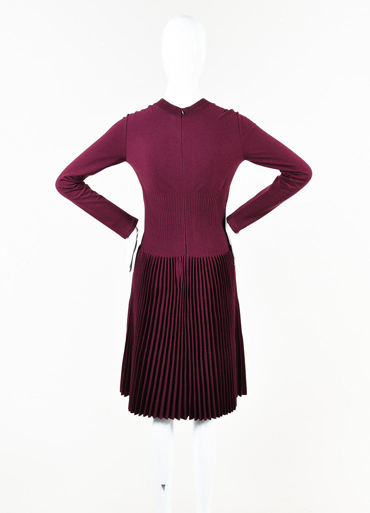 Alaia Berry Purple Wool Blend Knit Pleated A-Line Long Sleeve Sweater Dress Backview