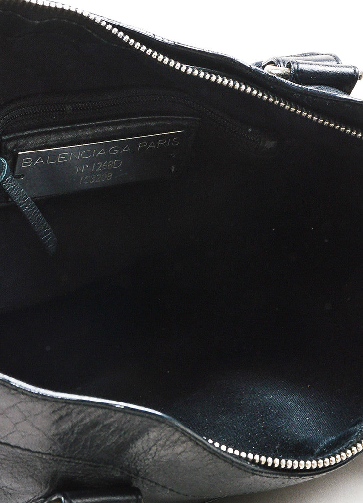 "Balenciaga Black Leather Silver Toned Hardware ""Classic First"" Shoulder Bag Interior"