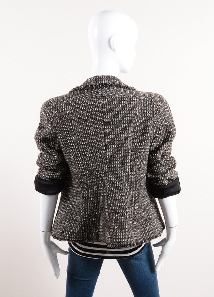 Chanel Black, Cream, and Brown Tweed Knit Fringe Trim Jacket Backview