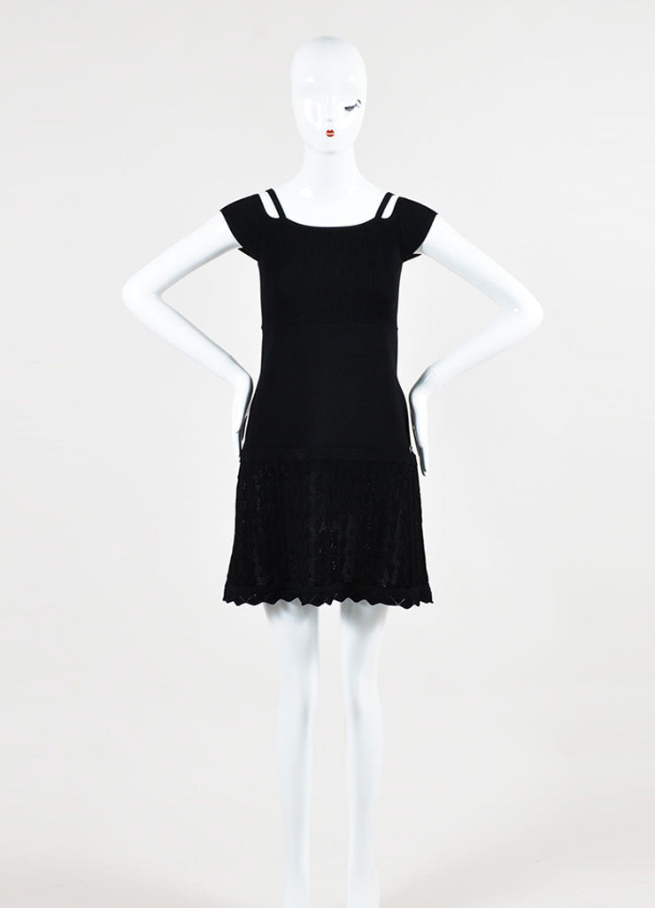 Black Chanel Rib Knit Crochet Shoulder Cut Out Short Sleeve Dress Frontview