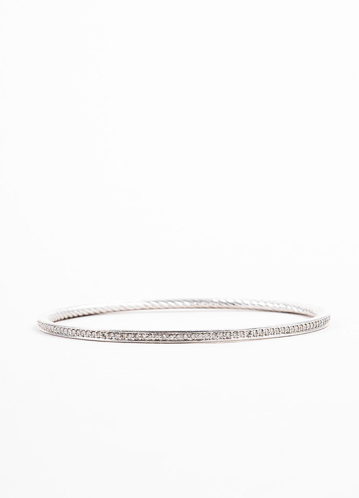 "David Yurman Sterling Silver and Diamond ""Cable Inside"" Bangle Bracelet Backview"