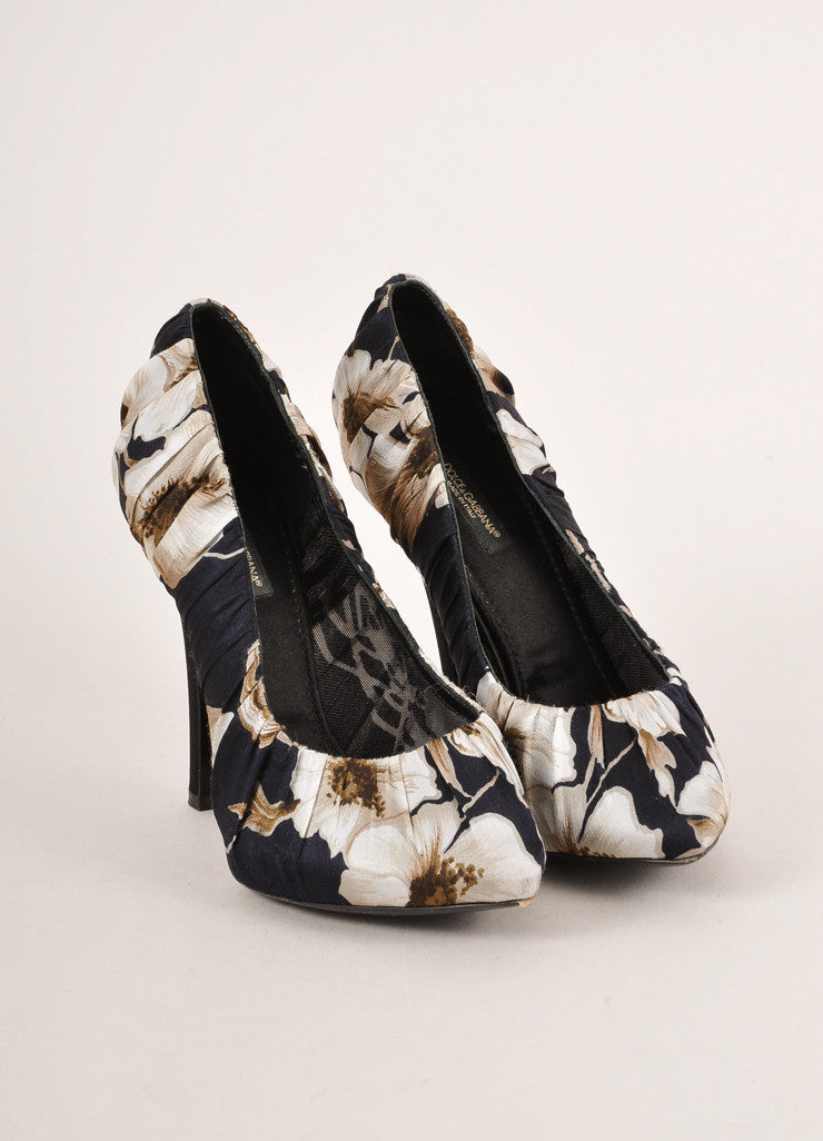 Dolce & Gabbana Black and Grey Floral Print Ruched Satin Pointed Toe Pumps Frontview