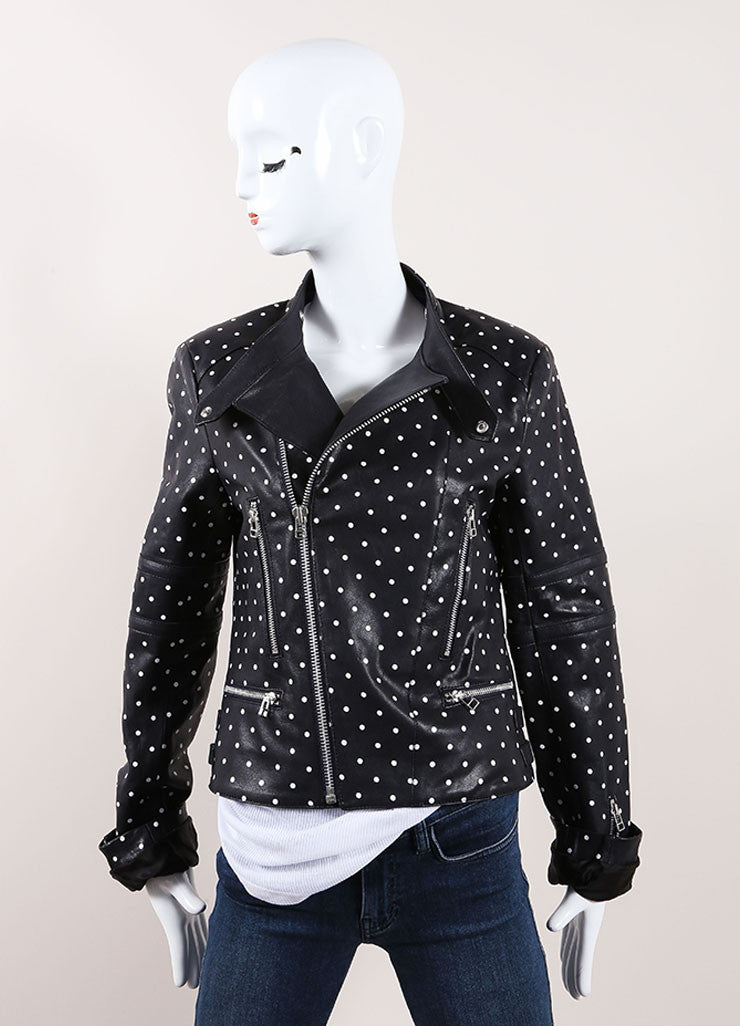 Each x Other Navy and White Leather Polka Dot Print Moto Jacket Frontview