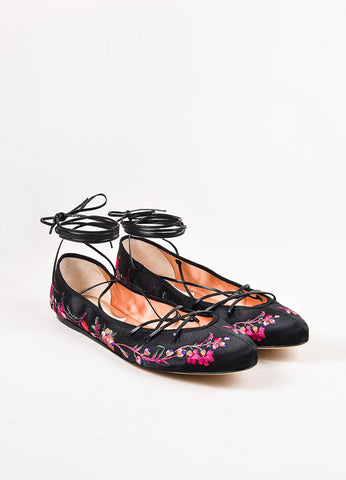 Etro Black Satin Floral Embroidered Lace Up Ballerina Flats Frontview
