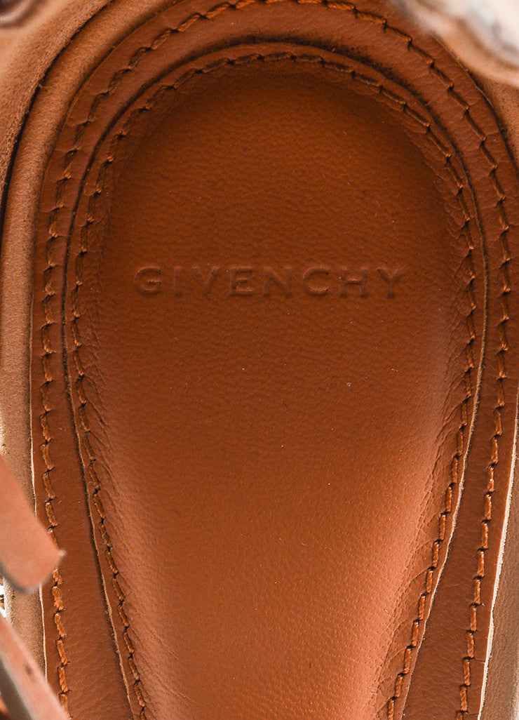 Givenchy Nude Leather Zipper Trim Ankle Strap Open Toe Wedge Sandals Brand
