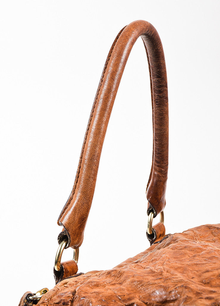 "Givenchy Brown and Gold Toned Sheepskin Distressed Leather ""Medium Pandora"" Bag Detail 2"