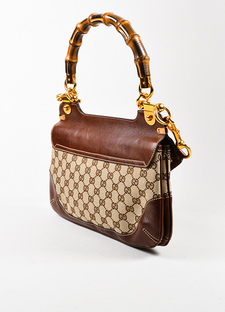 Gucci Brown Canvas Leather Bamboo Monogram Print Shoulder Bag Sideview