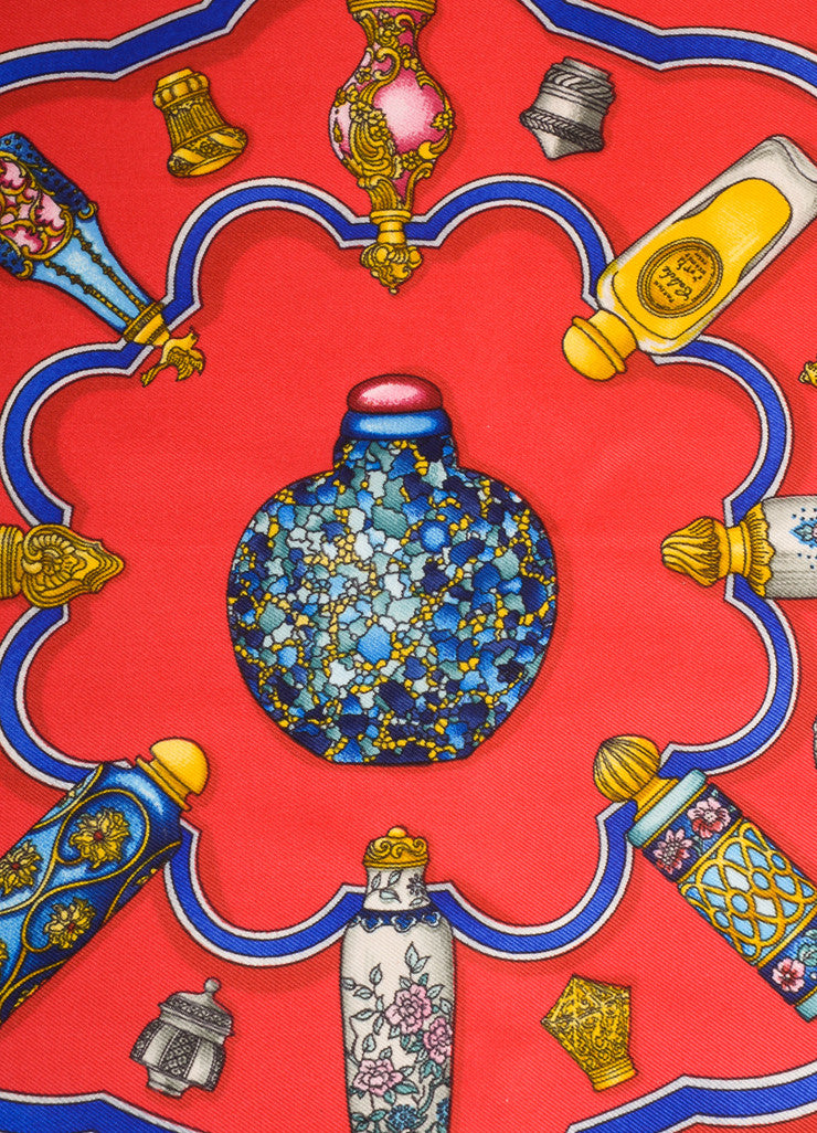"Hermes Navy, Red, and Multicolor Perfume Bottle Print ""Qu'impore Le Flacon"" Silk Scarf Detail 2"