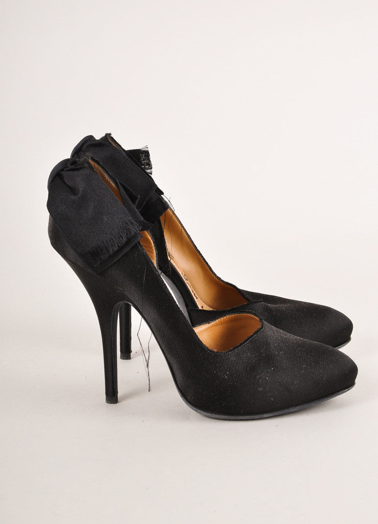 Lanvin Black Satin Bow Trim Half D'Orsay Pumps Sideview