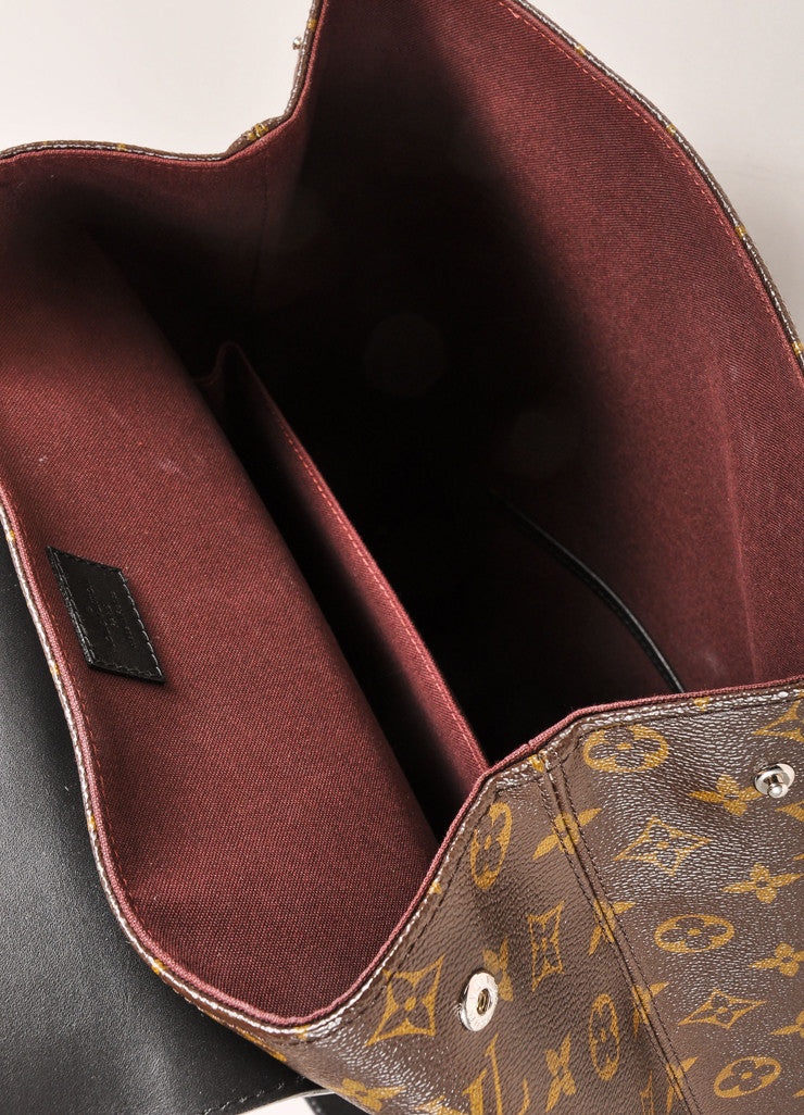 "Louis Vuitton Brown and Black Monogram Macassar Canvas and Leather ""Palk"" Backpack Interior"
