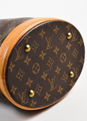 "Brown Louis Vuitton Coated Canvas 'LV' Monogram ""Petit Bucket"" Handbag Detail"