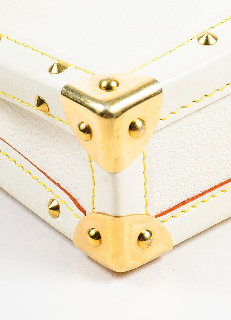 "Louis Vuitton Cream Gold Toned Suhali Leather Studded ""L'Aimable"" Bag Detail"