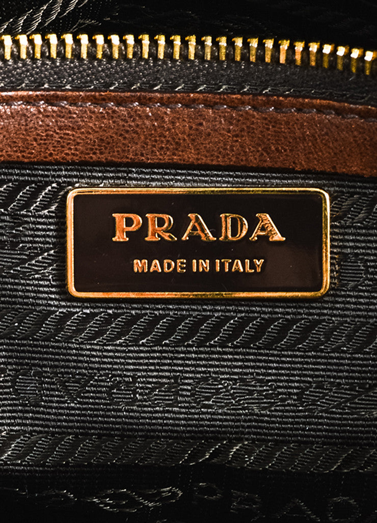 Brown Prada Leather Double Pocket Buckle Top Handle Flap Satchel Bag Brand