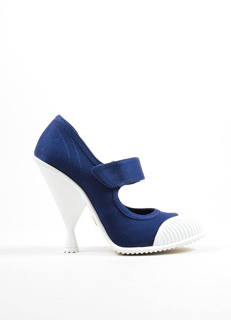 "Prada Blue and White ""Baltico"" Canvas ""Gabardine"" Mary Jane Pumps Sideview"
