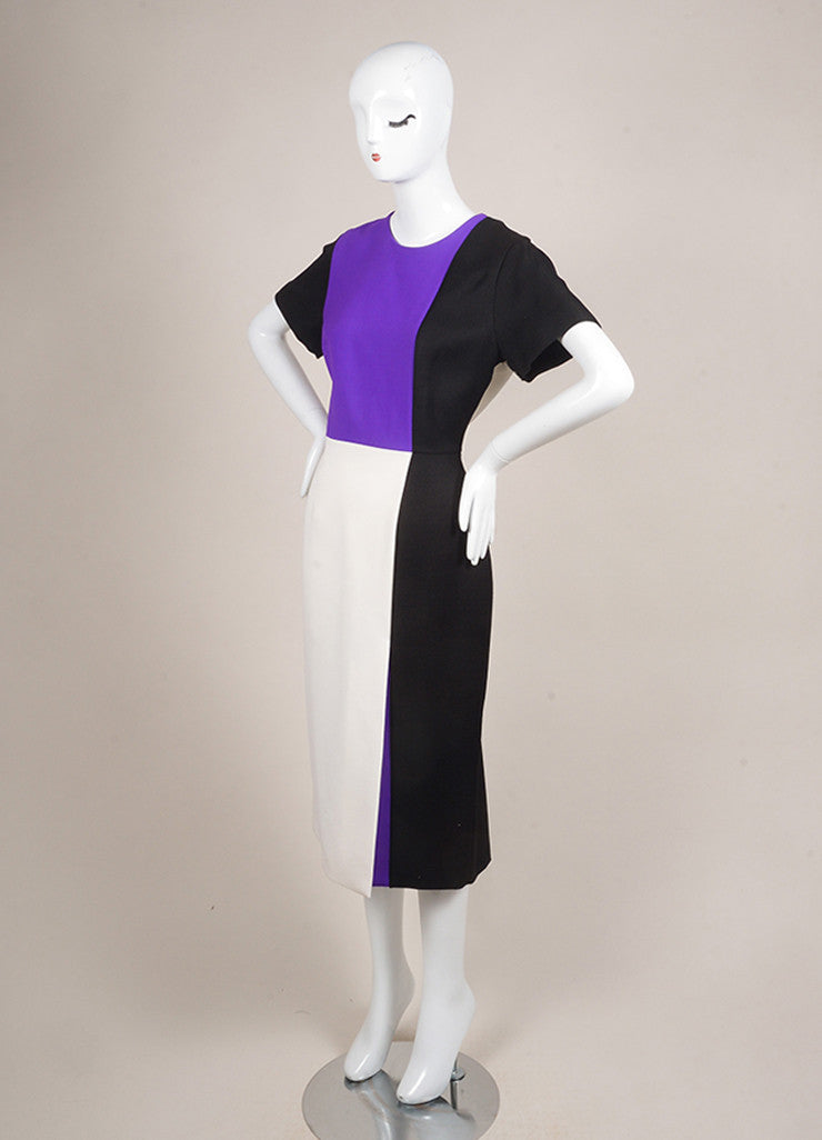 Roksanda Ilincic New With Tags Purple, Cream, and Black Wool Blend Color Block Dress Sideview