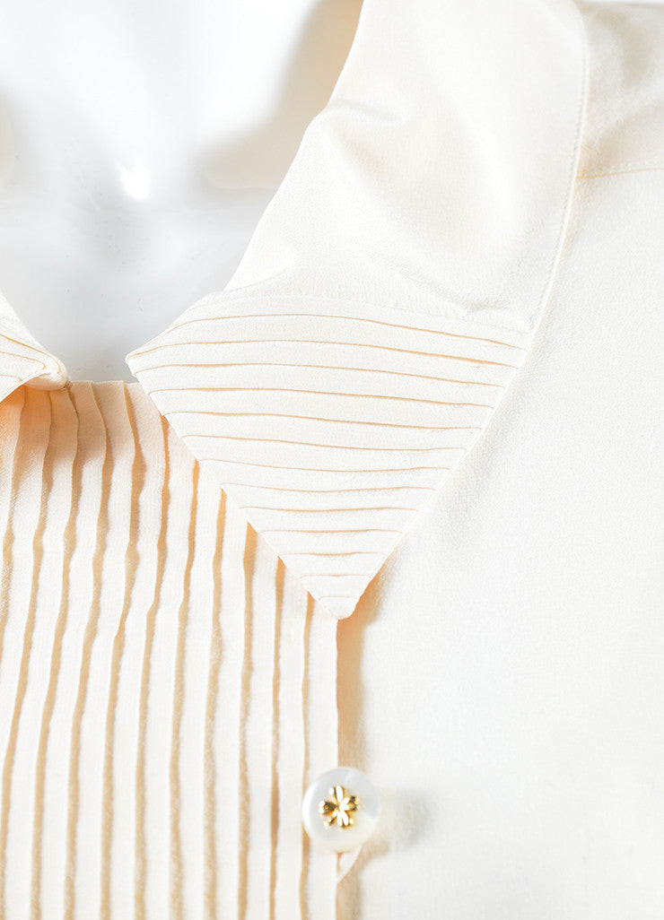 Chanel Cream and Peach Silk Pleated Clover Button Down Blouse Detail