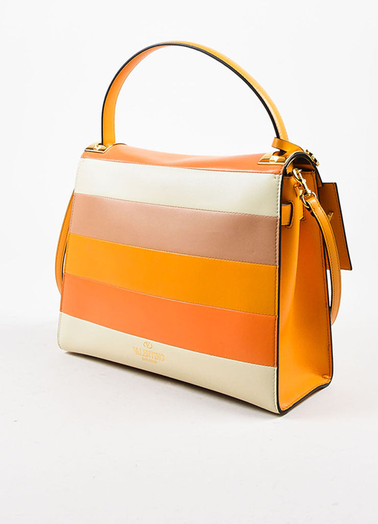 "Valentino Garavani Orange Leather Striped ""My Rockstud"" Satchel Bag Sideview"