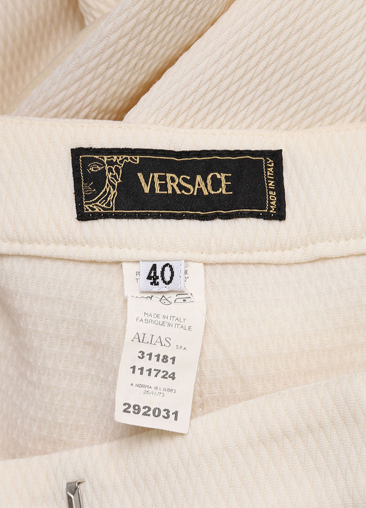 Versace Cream Diamond Textured Wool Tuxedo Pants Suit Brand 2