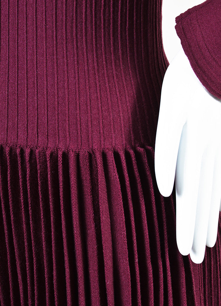 Alaia Berry Purple Wool Blend Knit Pleated A-Line Long Sleeve Sweater Dress Detail