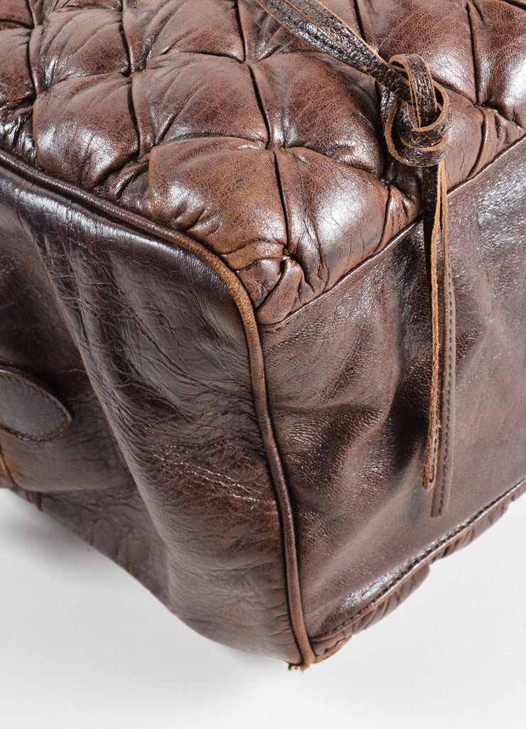 "Balenciaga Dark Brown Quilted Leather ""Matelasse"" Satchel Bag Detail"