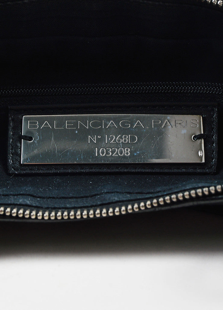 "Balenciaga Black Leather Silver Toned Hardware ""Classic First"" Shoulder Bag Brand"
