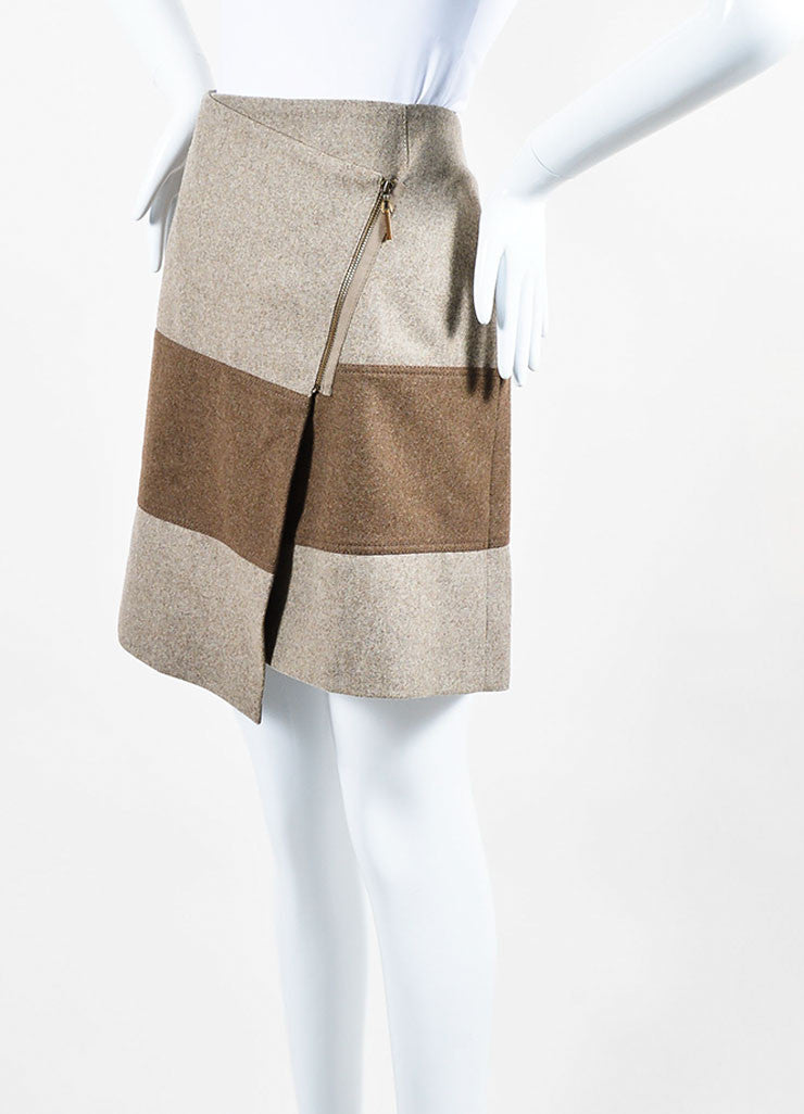 Beige and Brown Brunello Cucinelli Wool Striped Asymmetrical Zip Wrap Skirt Sideview