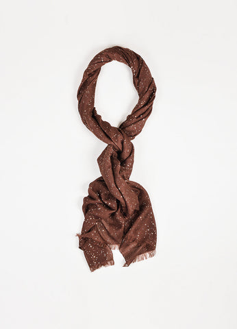 Brunello Cucinelli Brown and Gold Cashmere and Silk Blend Sequin Fringe Scarf Frontview