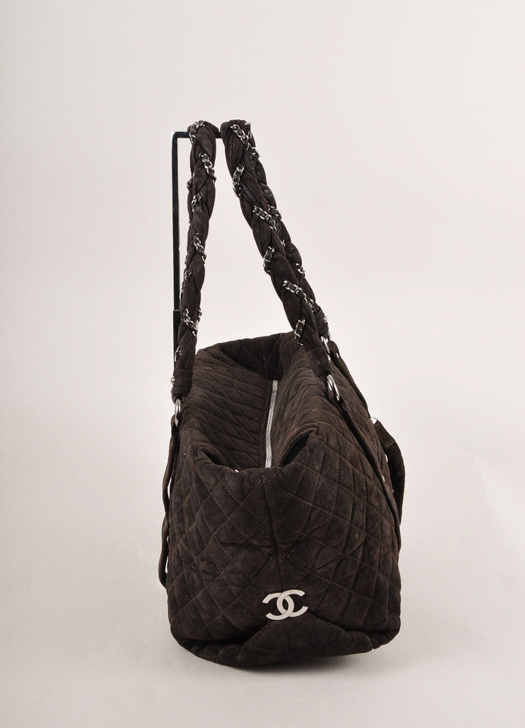 "Chanel Dark Brown Suede Quilted ""Lady Braid"" Tote Bag Sideview"