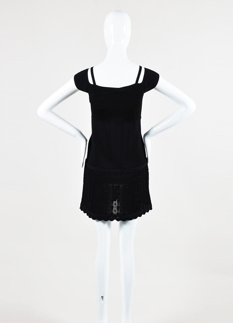 Black Chanel Rib Knit Crochet Shoulder Cut Out Short Sleeve Dress Backview