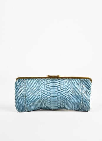 Chloe Blue Python Pushlock Clutch Bag Frontview