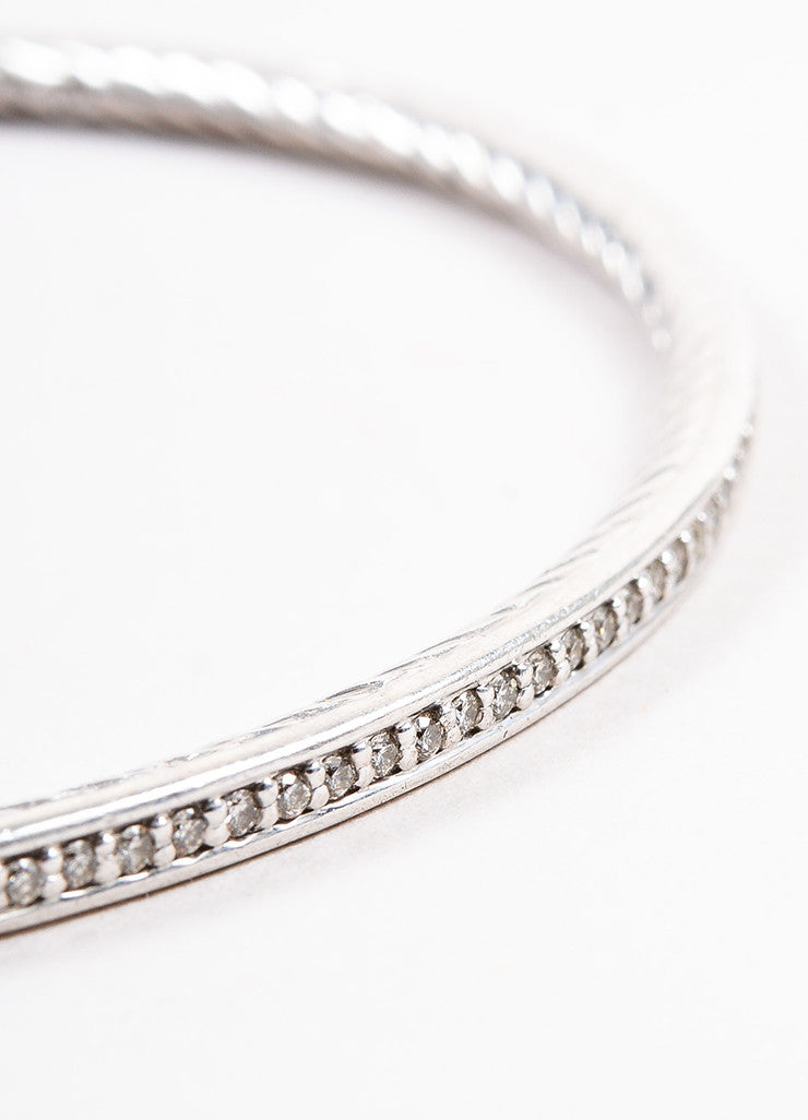 "David Yurman Sterling Silver and Diamond ""Cable Inside"" Bangle Bracelet Detail"