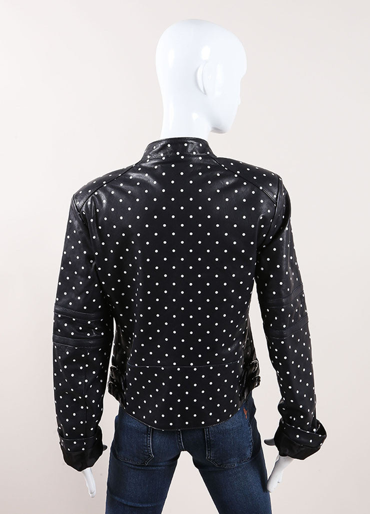 Each x Other Navy and White Leather Polka Dot Print Moto Jacket Backview