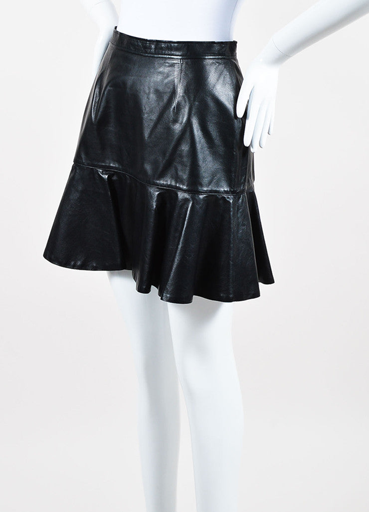 Givenchy Black Lambskin Leather Fit Flare Back Zip Mini Skirt Side