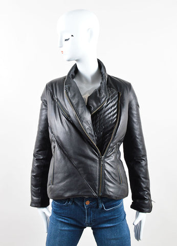 Helmut Lang Black Leather Down Zip Moto Short Puffer Coat Frontview