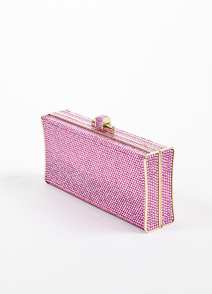 Rose Pink Judith Leiber Crystal Slender Curve Minaudiere Clutch Bag Sideview