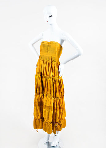 Mustard Yellow KaufmanFranco Cotton Leather Trim Tiered Strapless Dress Sideview