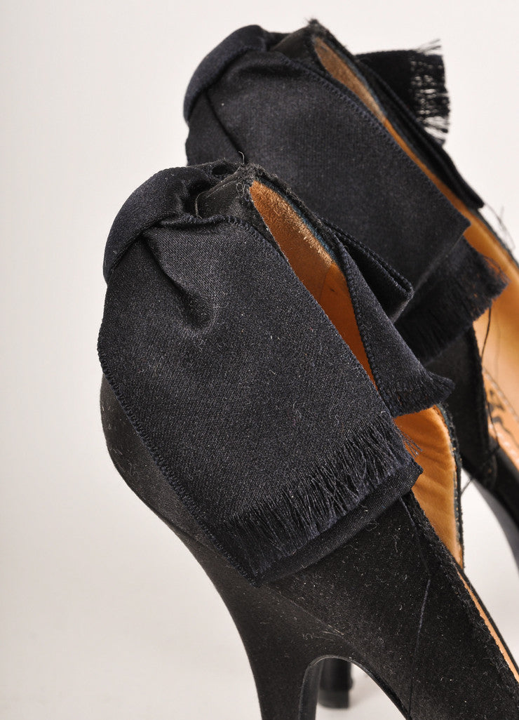 Lanvin Black Satin Bow Trim Half D'Orsay Pumps Detail