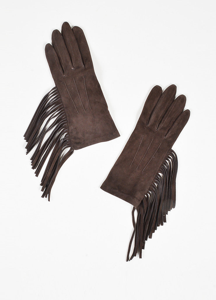 Brown Lanvin Suede Leather Fringe Trimmed Short Gloves Frontview